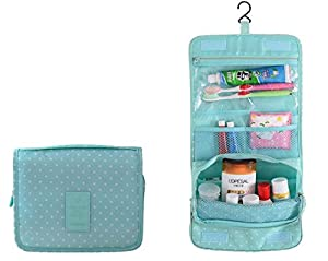 ZOONAI® Toiletry Bag For Women - Portable Hanging Personal Organizer Bag - Perfect for Travel/Outdoor (Green)
