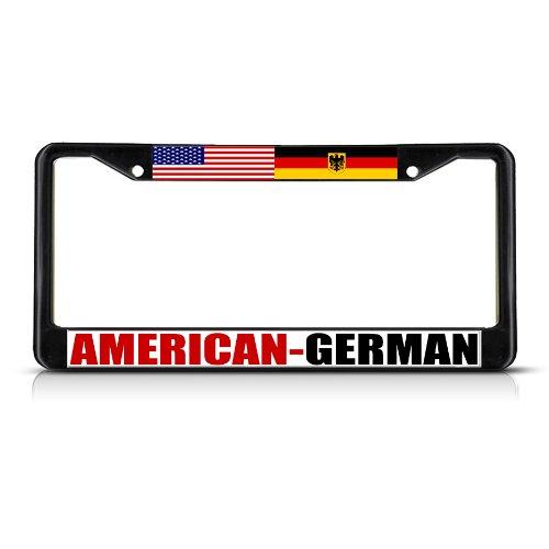 AMERICAN GERMAN SEAL Black Heavy Duty Metal License Plate Frame Tag Border