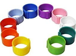 Dragon Poultry 100 Mixed Sizes Leg Rings for Chickens, Chicks, Ducks, Hens, P...