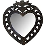 Onlineshoppee Wooden MDF Decorative Hand Carved Heart Shape Wall Mirror