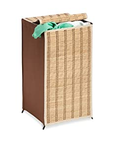 Honey-Can-Do HMP-01619 Tall Wicker Weave Hamper, Bamboo Laundry Organizer
