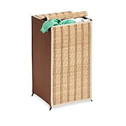 Honey-Can-Do HMP-01619 Tall Wicker Weave Hamper Bamboo Laundry Organizer