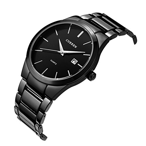 Voeons Mens WatchesBlack Stainless steel Strap Watch