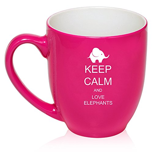 16 Oz Hot Pink Large Bistro Mug Ceramic Coffee Tea Glass Cup Keep Calm And Love Elephants
