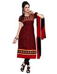 Trendz Apparels Maroon 60 Gm Georgette And Jacquard Straight Fit Salwar Suit