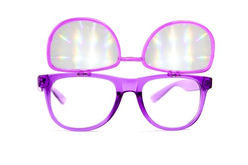 Flip Diffraction Glasses – High Quality Effect – Rave Accessories – Clear Purple