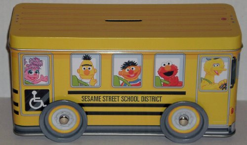 Sesame Street School Bus Bank Tin