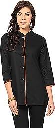 Vedanta Women's Regular Fit Cotton Kurta (KICCFO613O-BLACK-S, BLACK, Small)