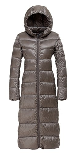 Z-SHOW™ Women's Long Lightweight Down Jacket Coat(Grey,L)