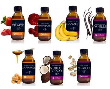 lot 7 arômes naturels en flacon de 50 ml