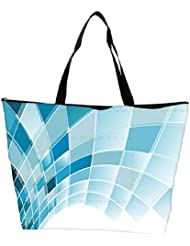 Snoogg Blue Squares Abstract Designer Waterproof Bag Made Of High Strength Nylon