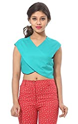 Abony Solid C. Green Wome's Crop Top