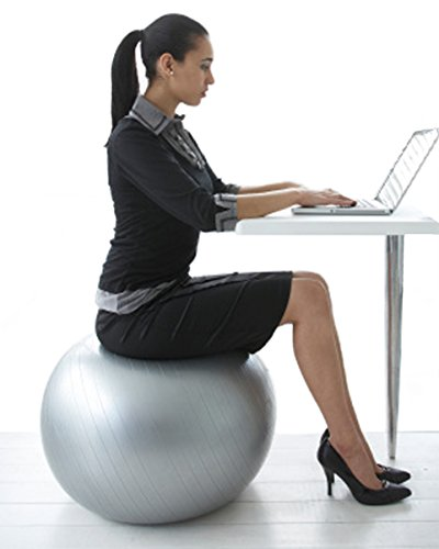 Exercise Ball Chair From CalCore, Professional Strength Antiburst Ball with Hand Pump for Office, Stability and Fitness