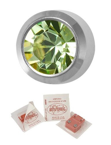 Studex Ear Piercing Silver Coloured Stainless Steel Birthstone Stud Earrings 4mm Bezel Setting - August / Peridot