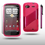 HTC SENSATION / HTC SENSATION XE TICK DESIGN GEL CASE WITH SCREEN PROTECTOR & STYLUS BY CELLAPOD CASES HOT PINKby CELLAPOD