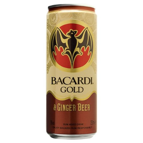 Bacardi Gold Rum & Ginger Beer Pre Mixed Can (12 x 250ml)