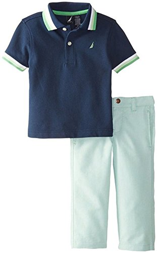 Nautica Little Boys' Solid Polo and Colored Twill Bottom Set, Blue Spell, 2T