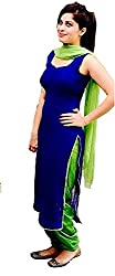Classy and Treandy Women's Yellow & Blue Georgette Unstitch Dress Material with Dupatta and Inner