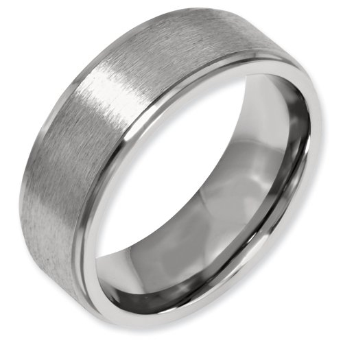 Titanium Ridged Edge 8mm Brushed and Polished Band Ring Size 16 Real Goldia Designer Perfect Jewelry Gift for Christmas