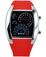 LED Light Aviation Pilot Speedometer Dash Men's Binary Digital Wrist Watch (red band)