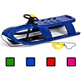 Long 2 person BULLET CONTROL steering kid sledge with metal runners, 4 colours