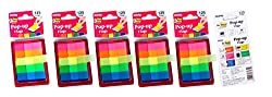 Oddy Re-Stick Pop Up Flags, 12 x 45mm, 5 Colors, 125 Flags per Pack -5 Packs