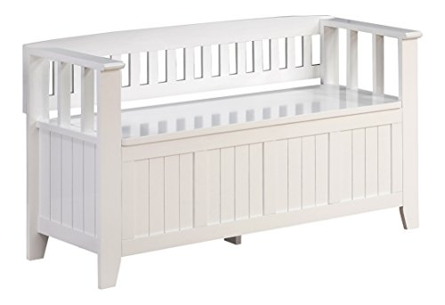 Simpli Home Acadian Entryway Bench White Furniture Benches