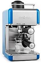 oneConcept Sagrada Azzuro Edelstahl Espressomaschine mit Milchschäumer (800W, 3,5 Bar-Druck, inkl. 4 Tassen-Glaskanne) silber-blau
