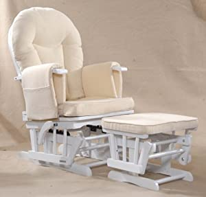 Sereno (white) Nursing Glider maternity rocking chair with glide lock and footstool by Kidzmotion