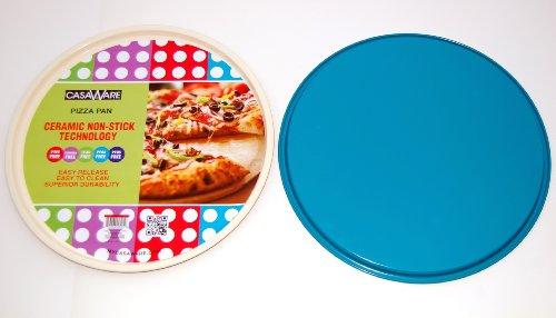 casaWare Ceramic Coated NonStick 13.5-Inch Pizza Pan (Cream/Blue)