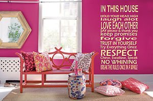 house rules wall art sticker mural giant large decal