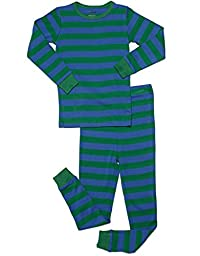 Leveret Striped 2 Piece Pajama Set 100% Cotton (10 Years, Blue & Green)