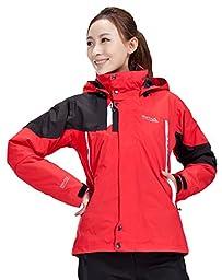 Makino Women\'s Outdoor Ski Suit Fleece Liner Waterproof Jacket 1233-2 Red XL