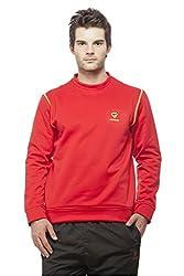 Gypsum Solid Mens Round Neck Sweat T-Shirt (Red)