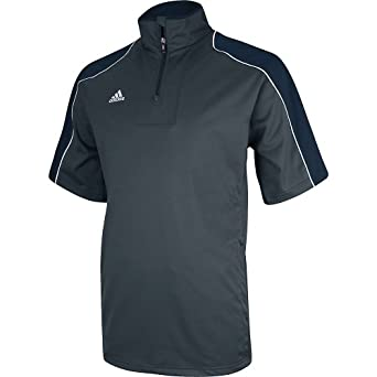 Adidas Mens Gameday Short Sleeve Hot Jacket , Gray|Navy, x-large  by adidas