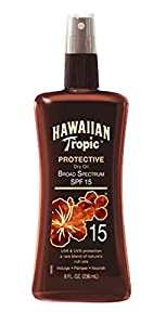 Hawaiian Tropic Sunscreen Protective Tanning Dry Oil Broad Spectrum Sun Care Sunscreen Spray - SPF 15, 8 Ounce