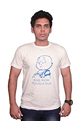 College Jugaad White Printed Cotton T-shirt for Men