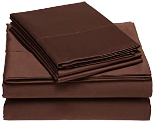 Luxury Manor Collection 800-Thread Count Solid Cotton Queen Sheet Set, Chocolate