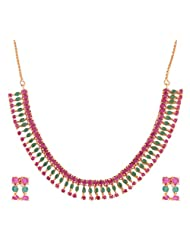 Ganapathy Gems 1 Gram Gold Plated Necklace Set With Ruby And Green CZ Stones - B00WORG1GO