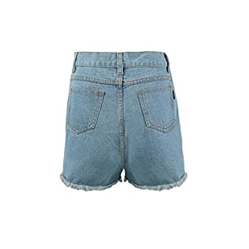 Zity Lady Women Retro Girl High Waisted Oversize Crimping Boyfriend Jeans Shorts Pant