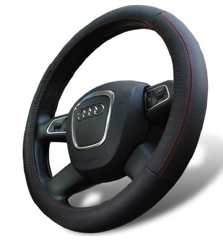 Leather Steering Wheel Cover for Chevy Avalanche C/K Colorado Equinox Express Impala Malibu Silverado Tahoe Tracker Trailblazer Traverse Uplander (Chevy Tracker Wheels compare prices)