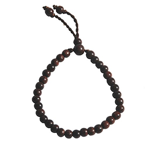 Small Hand-made Adjustable Tension Exotic Tamarind Tree Wood Tasbih Bracelet 33-beads