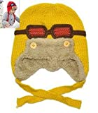 Add wool earmuffs pilot children knitted hats Knitted Skating Ski Caps with Ear Flaps Windproof with Glasses Yellow