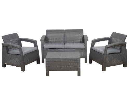 Atlantic Tahiti 4-Piece Conversation Set by Keter, Grey (Discontinued by Manufacturer) photo