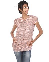 Rajrang Cotton Gray, Orange Screen Printed Tunic Top Size: M