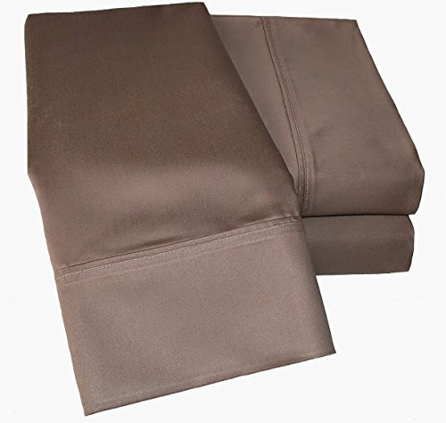 """Scalabedding 300-Thread-Count Egyptian Cotton Super Soft Extra Deep Pocket 1-Piece Fitted Sheet/Bottom Sheet King/Eastern King Solid Taupe Fit Up To 10"""" Inches Deep Pocket Fully Elastic All Around"""