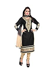 Jinal Fashion women's Unsitched dress material (Black Beige_Free size)