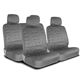 UNIVERSAL CAR SEAT COVER FOR MIDSIZE AND COMPACT CARS FULL SET - LEATHER LOOK - GREY