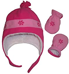 N\'Ice Caps Girls Snow Embroidered Sherpa Lined Micro Fleece Hat and Mitten Set (6-18 Months, Infant - Fuchsia/Pink)