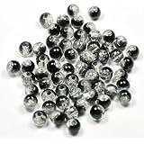 Imagine Perles - Lot 100 Perles de verre craquelé 6 mm noir